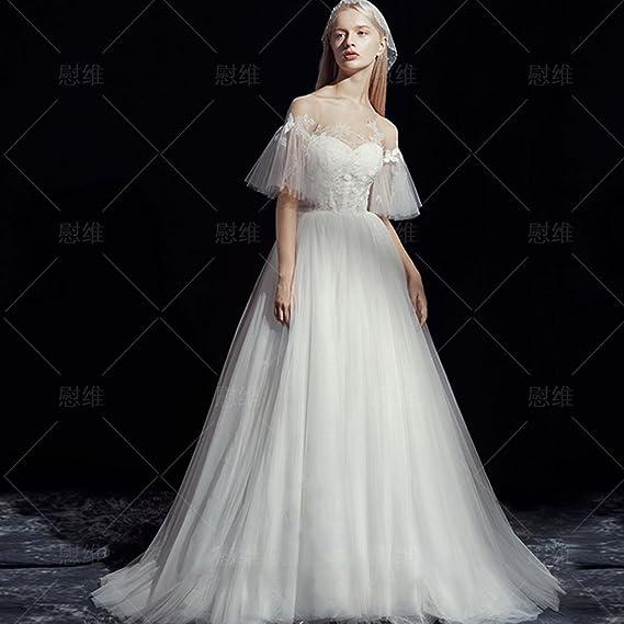 CJJC Vestidos De Novia De Las Mujeres Simples De Moda Tulle Princess Dream Longitud del Piso Noche Prom Vestidos De Novia con Apliques De Encaje: Amazon.es: ...
