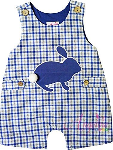 Angeline Baby Boys Easter Bunny Shortall JonJon Romper Gingham Blue Gray Checkers 3-6M