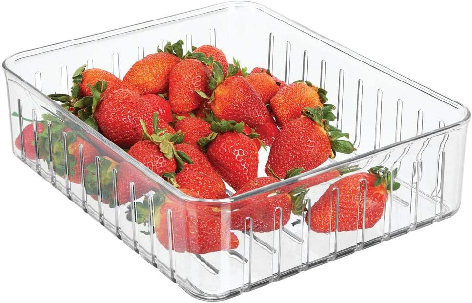 mDesign Plastic Kitchen Refrigerator Produce Storage Organizer Bin with Open Vents for Air Circulation - Food Container for Fruit, Vegetables, Lettuce, Cheese, Fresh Herbs, Snacks - Large - Clear
