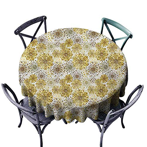VIVIDX Spillproof Tablecloth,Floral,Cute Artistic Blossoms Petals Modern Dots Abstract Bedding Plants Gardening,High-end Durable Creative Home,63 INCH,Khaki Brown White ()