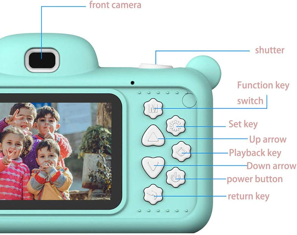 HUYA Kinder-Digitalkamera 2,4-Zoll Vorder und Rückseite Hochauflösende Dual Kids Großbildkamera Pink