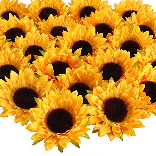 Wildflower Bouquet Wedding (VGIA 24pcs Artificial Sunflower Heads Silk Flower Faux Floral Yellow Gerber Daisies for Wedding Table Centerpieces Home Kitchen Wreath Hydrangea Cupcakes Topper Decorations)
