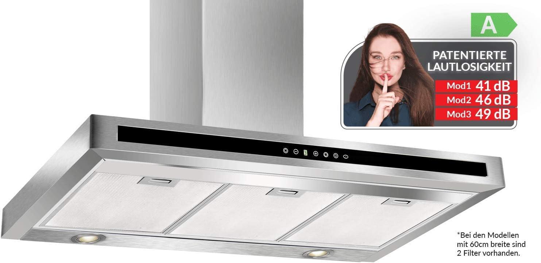 Patentierte Lautlosigkeit Technologie RADIALITIC K/ÜGERR F10S Extrem Leise Dunstabzugshaube 60 cm Abzugshaube aus Edelstahl inox Dunstabzug der Klasse A Touch Control mit 5-Geschwindigkeitsstufen