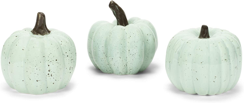 Transpac Pumpkin Mint Green Speckle 4 x 4 Clay Ceramic Harvest Figurines Set of 3
