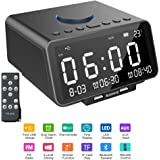 COOFO Alarm Clock FM Radio,with Wireless Bluetooth Player,USB Fast Charge Port, TF Card Play,LED Display, Dual Alarm, Indoor Temperature/Day/Date Display,Nap/Sleep Timer for Bedroom (Black)