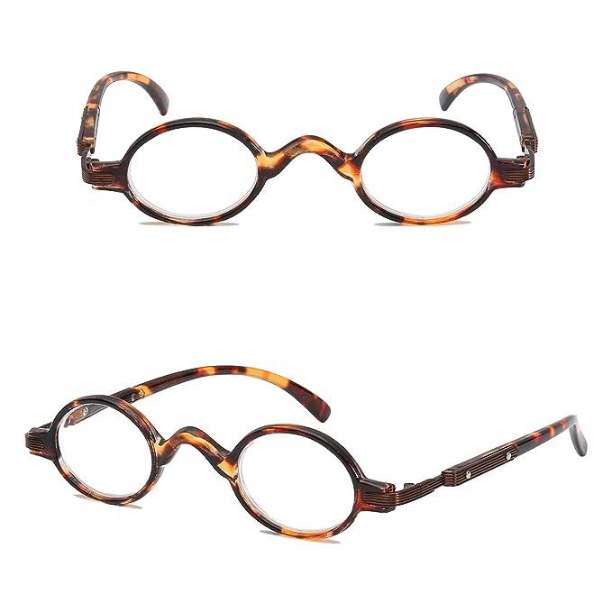 ce88daa97d VEVESMUNDO Gafas de Lectura Mujer Hombre Vintage Redondo con Bisagra de  Resorte Pequeñas Moda Graduadas Vista