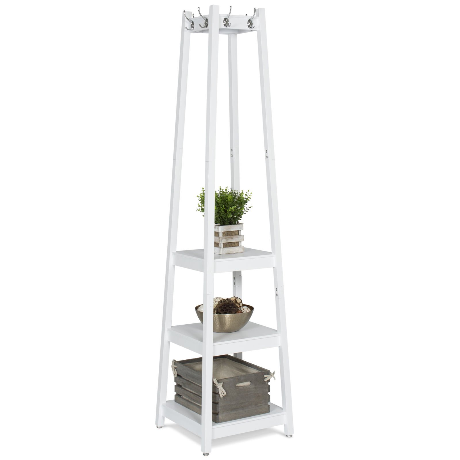 New White 3-Tier Shelves Storage Coat Rack Home Furniture Standing