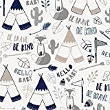 Carousel Designs Navy Brave Fox Fabric by The Yard - Organic 100% Cotton