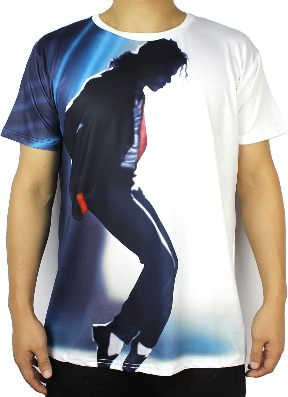 Shuanghao Space Dance Adecuado para fan/áticos de Michael Jack Top Punk Cotton Colorful Tshirt Camisetas Top Casual Camiseta