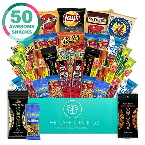 The Care Crate Man Box Ultimate Men's Snack Box Care Package ( 50 piece Snack Pack ) Chips Variety Pack, Cookies, Pretzels, Jerky, Nuts (Best Meat Gift Packages)