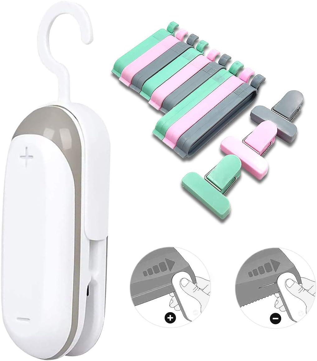 Mini Bag Sealer,Plastic Bag Resealer, 2 in 1 Heat Sealer and Cutter Portable Bag Resealer, Handheld Heat Vacuum Sealers, Food Storage Snack Fresh Bag Sealer with 12 Bag Clips (Battery Not Included)