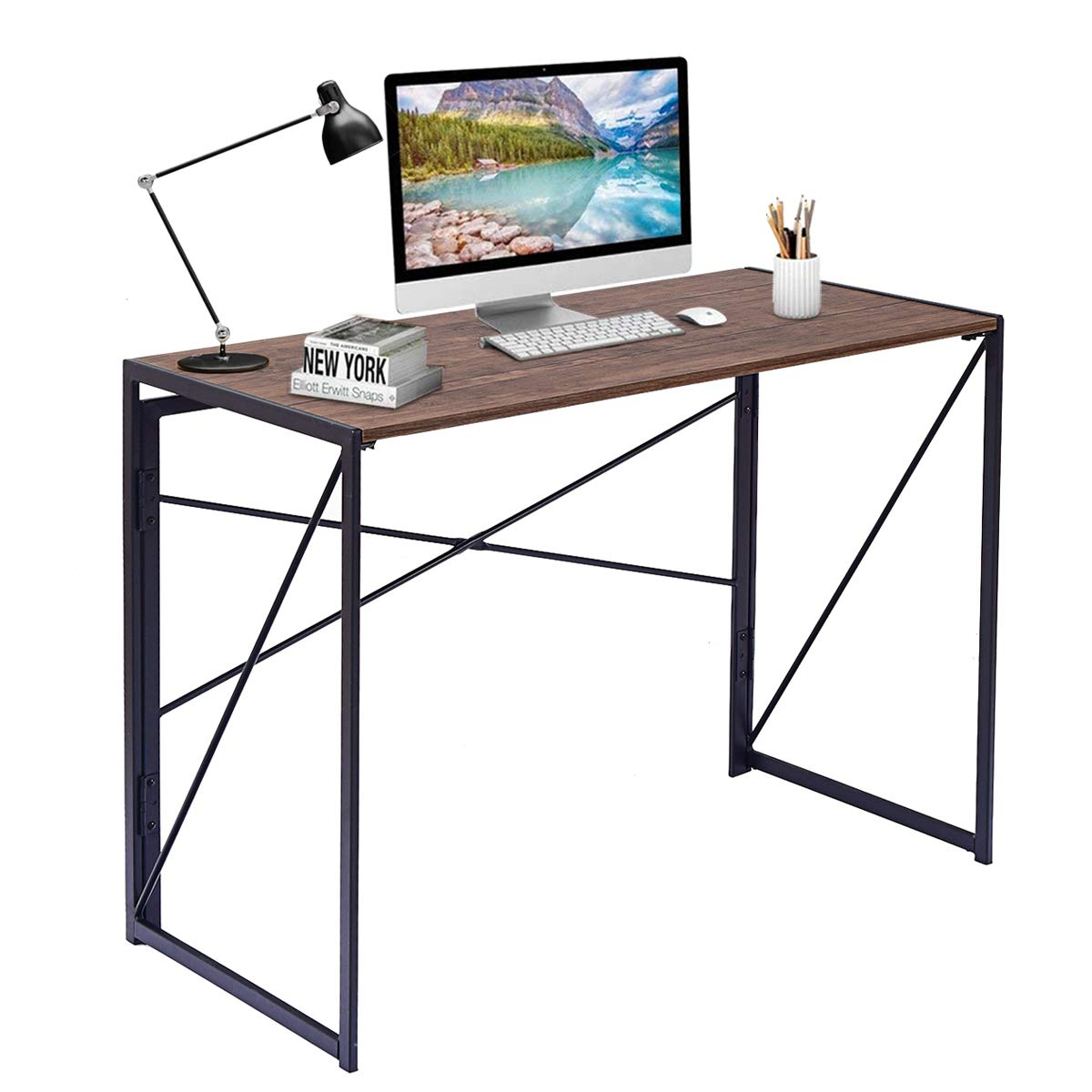 Tangkula Folding Computer Desk, Home Office Modern Simple PC Laptop Table, Studying Writing Desk, Rectangular Workstation Furniture, Folding Table(39.5'' L×20'' W×29.5'' H)