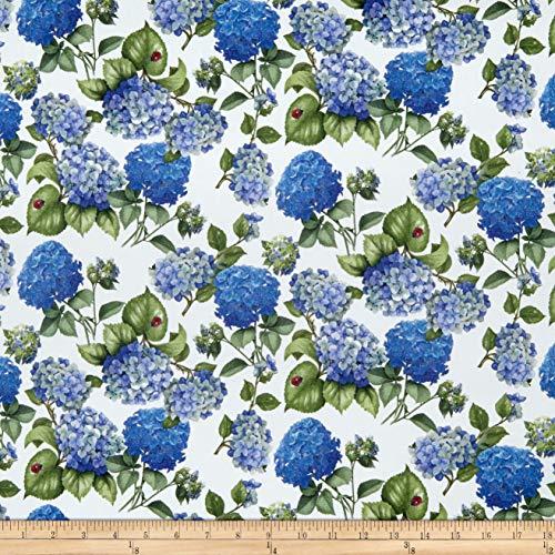 Telio Digital Stretch Cotton Sateen Hydrangea White Blue, Fabric by the Yard