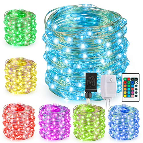Kohree String Lights, Fairy Light, 40ft 120 LEDs 16 Colors, Multi Color Plug in Adapter Color Changing String Lights, Silver Wire Lights for Holiday Decoration]()