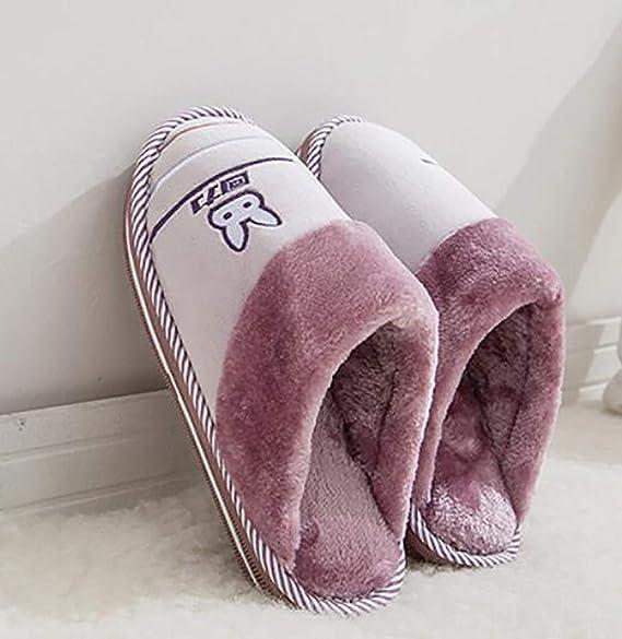 SHANGXIAN Mujer Pantuflas Otoño/Invierno Calentar Casa Felpa Pantuflas Suela Impermeable Zapatillas De Interior,C,38/39: Amazon.es: Hogar