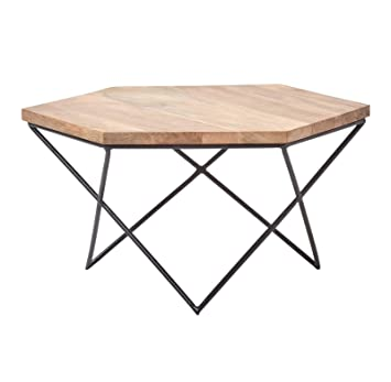 Homescapes Industrial Geometric Coffee Table 78cm Wide Natural
