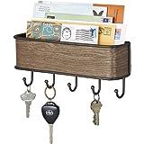 mDesign Mail, Letter Holder, Key Rack Organizer for Entryway, Kitchen - Wall Mount, Bronze/Walnut Finish
