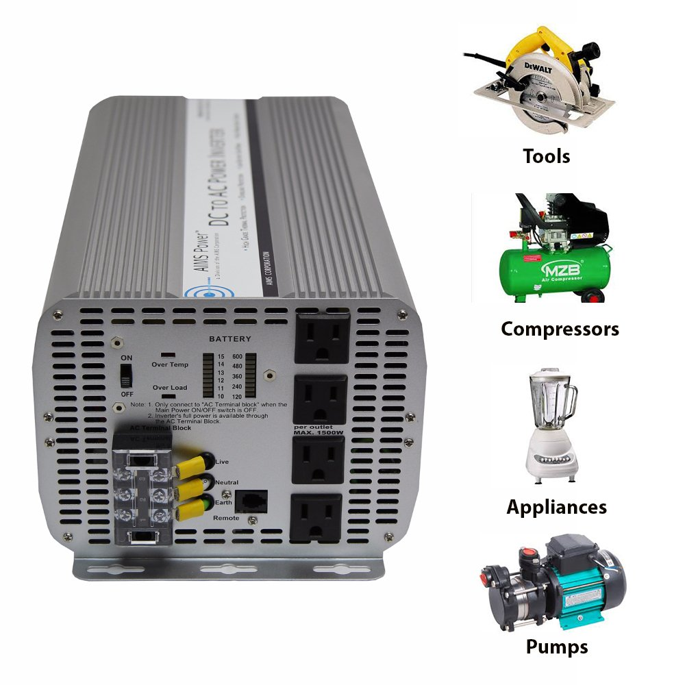 Aims Power 5000 Watt Dc To Ac Inverter 5000w Max Making Technology For Car Continuous 10000w Surge Peak Over Temperature Led Indicator Load