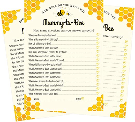 yellow floral bee theme gender neutral bees printable baby shower game baby bee predictions and advice card  bee baby shower