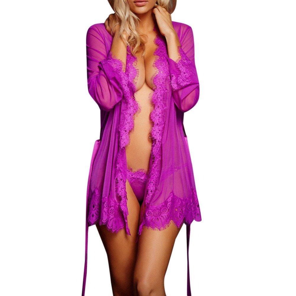 YAliDA 2019 Women Lingerie Babydoll Sleepwear Underwear Lace Coat Nightwear +G-String(Small,Purple)