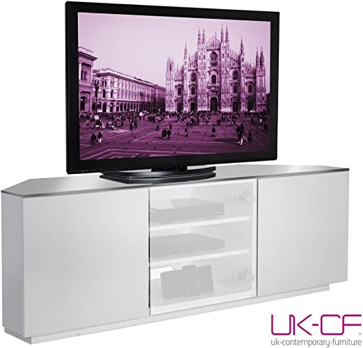 UK-CF Milan funda de paisaje urbano de blanco y cristal blanco translúcido con acabado mueble para televisor y con televisor centros función atril - paquete plano: Amazon.es: Hogar