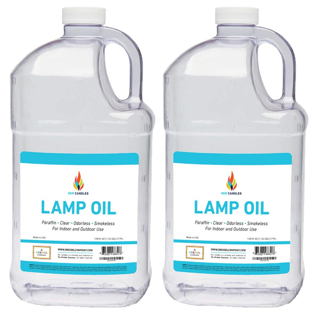 Liquid Paraffin Lamp Oil - 1 Gallon - Smokeless, Odorless, Ultra Clean Burning Fuel for Indoor and Outdoor Use (2-Pack) by The Dreidel Company