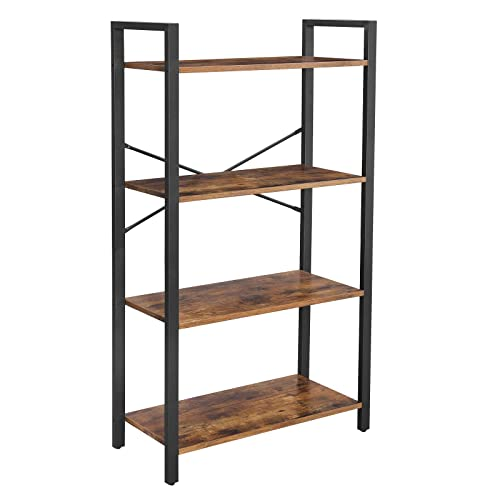 VASAGLE ALINRU Ladder Shelf, 4-Tier Bookshelf Storage Rack, Living Room Bookcase, Stable Iron Frame, Bedroom, Office, Industrial Design, Rustic Brown ULLS60BX