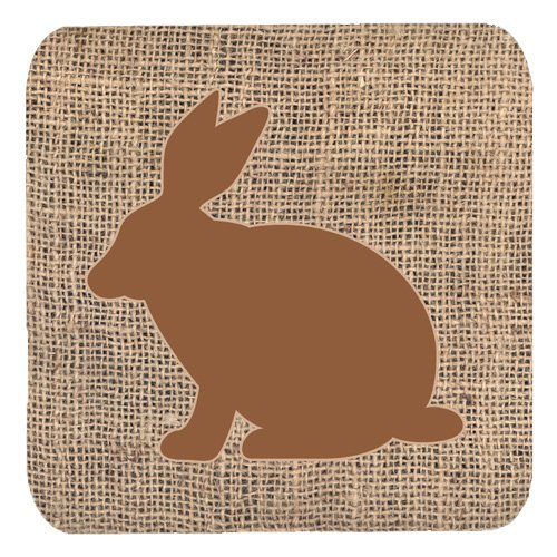 - Caroline's Treasures BB1002-BL-BN-FC Rabbit Burlap and Brown Foam Coasters (Set of 4), 3.5