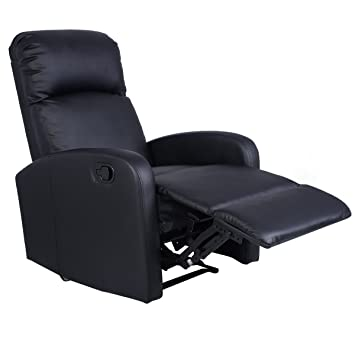 Giantex Manual Recliner Chair Black Lounger Leather Sofa Seat Home Theater  sc 1 st  Amazon.com : seat recliner - islam-shia.org