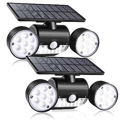 Outdoor Solar Lights, YUJENY 30 LEDSolar Security Light with Motion Sensor Dual Head Spotlights IP65 Waterproof 360° Adjustable Solar Motion Lights Outdoor for Front Door Yard Garde(2 Pack) : Garden & Outdoor