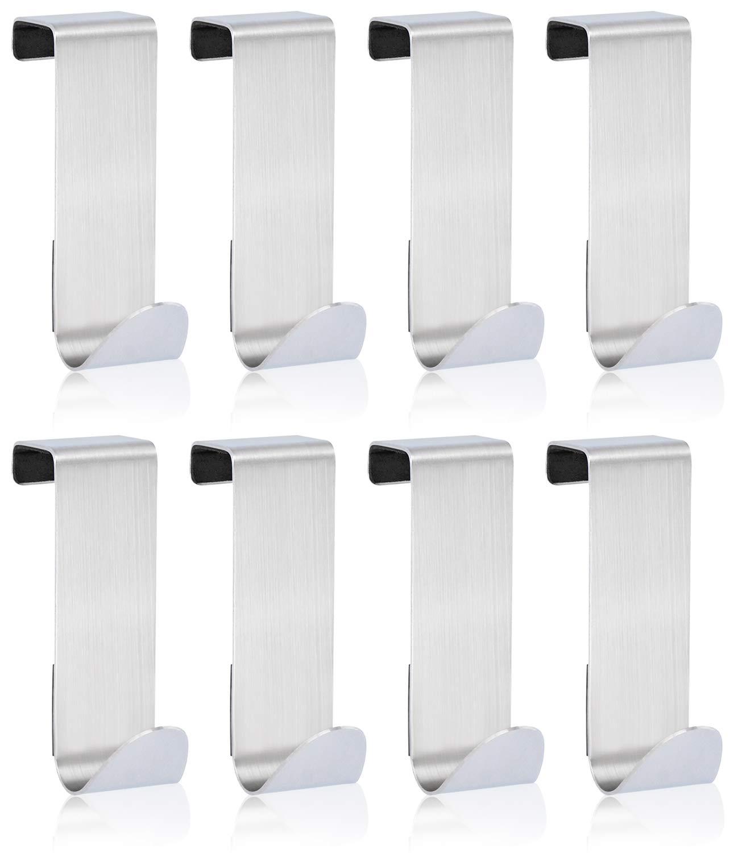 com-four® 8 Türhaken aus Edelstahl, Kleider-Haken mit Schaumstoff-Schutz, 7,5 cm (08 Stück - mit Schaumstoff)