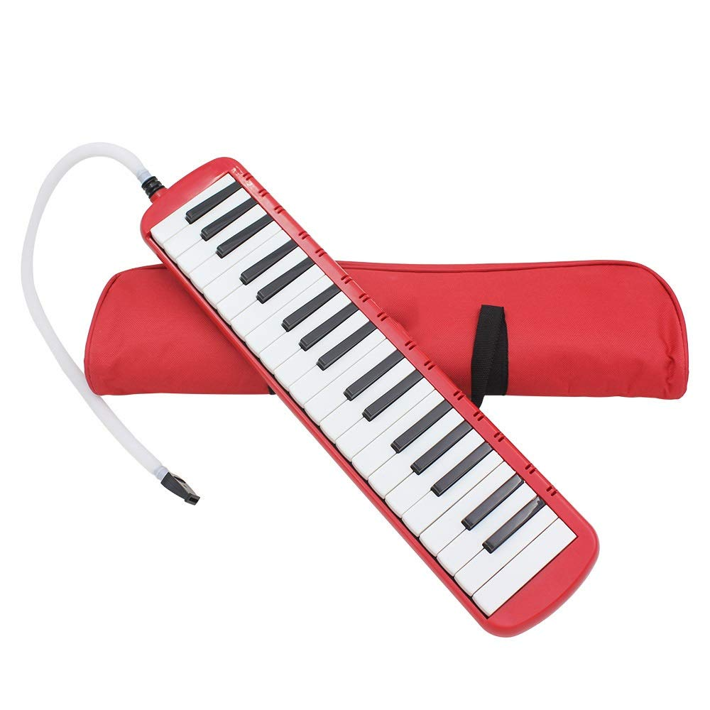 Melodica Musical Instrument Full Sets Piano Style Melodica Educational 37 Keys Portable Musical Instrument With Carrying Bag Straps 2 Mouthpieces Tube Gift Toys For Kids Music Lovers Beginners Red For