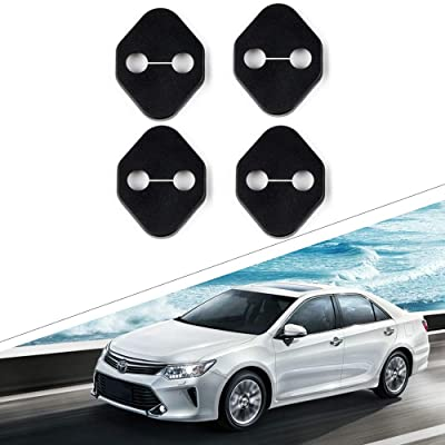 1797 Compatible Door Latch Lock Cover for Toyota Accessories Parts Yaris Corolla Camry Highlander Tundra Interior Buckle Caps Decals Stickers Decorations Anti Corrosion PPE Plastic Soft Black 4 Pack: Automotive