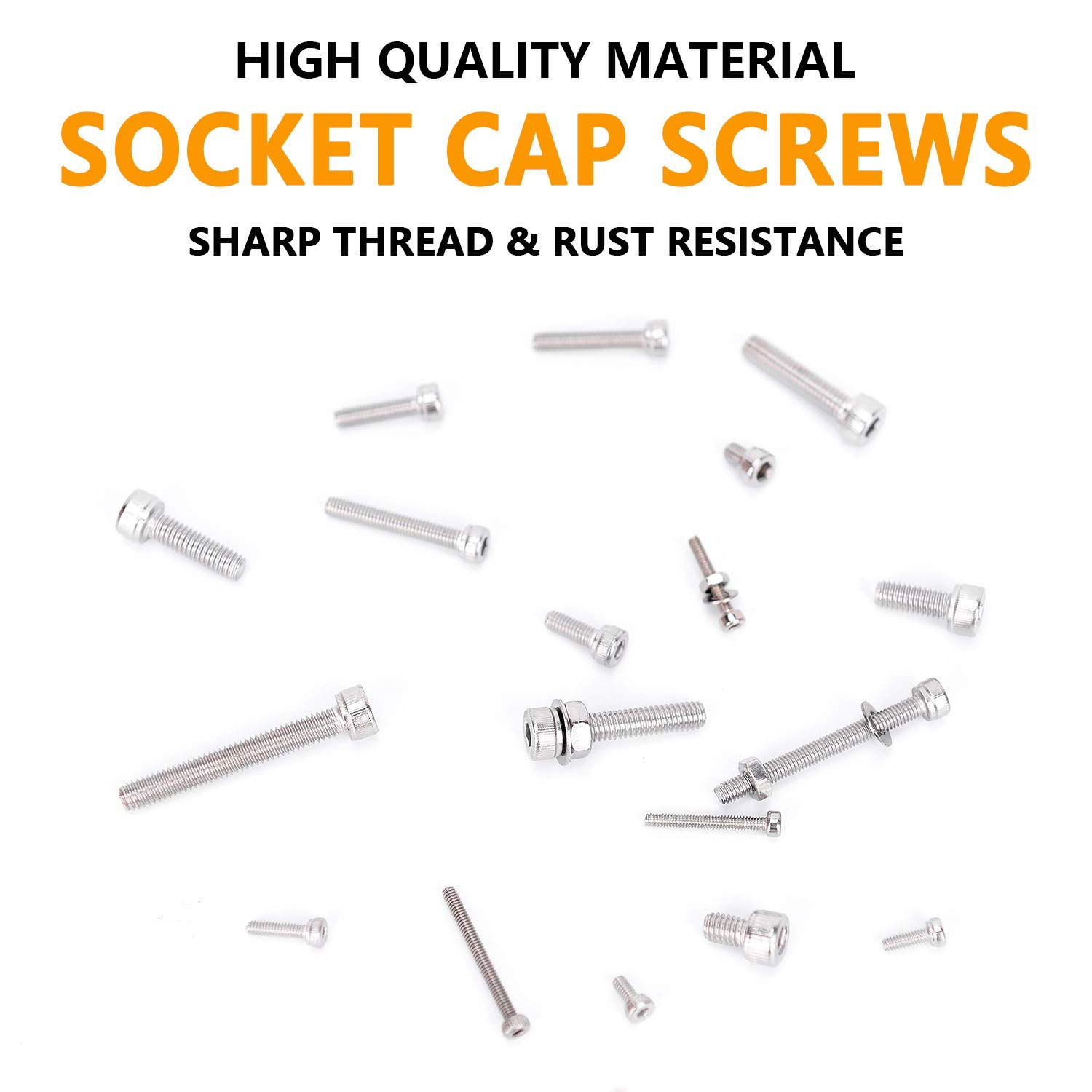 Anlizn M2 M3 M4 Stainless Steel Hex Socket Head Cap Screws Nuts Set 1080pcs Assortment Kit with Storage Box Six Hex Wrenches Included Silver