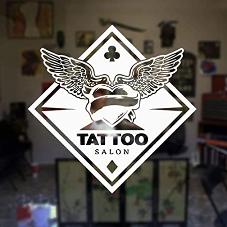 YuanMinglu Tatuaje Estudio alas Logo Vinilo Pared Tatuaje salón ...