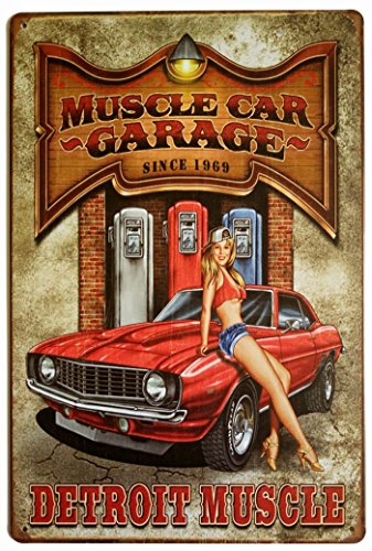 Muscle Car Signs - ERLOOD Muscle Car Garage Since 1969 Detroit Muscle Retro Vintage Decor Metal Tin Sign 12 X 8 Inches