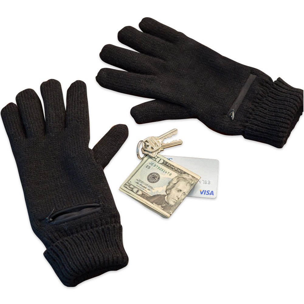 Bits and Pieces - Knit Black Gloves With Secret Zipper Pocket - 2-1/2'' Zippered Pouch for Each Hand, One Size Fits Most