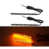 Bandes LED clignotantes universelles pour moto - 9LED ambrées par bande - Lot de 2