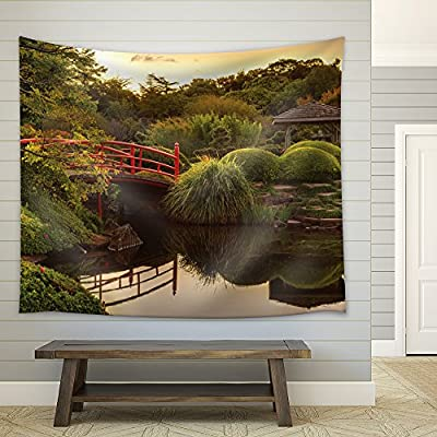 Stunning Piece, Made to Last, Red Bridge on a Lake Surrounded by Trees and a Kiosk