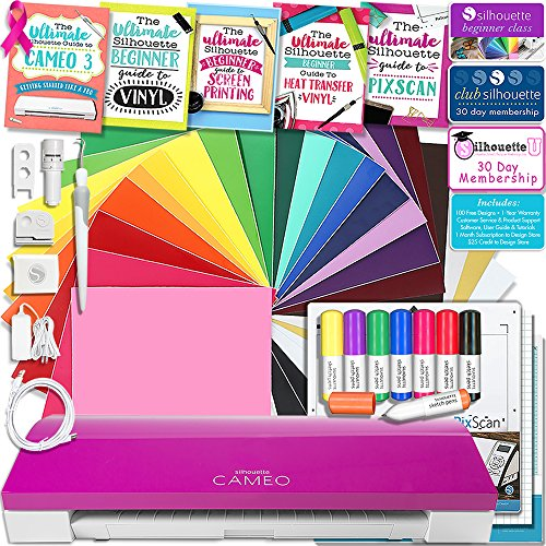 Silhouette Cameo 3 Limited PINK Edition Bluetooth Educational Bundle Oracal Vinyl, Guides, Class, Membership and More by Silhouette