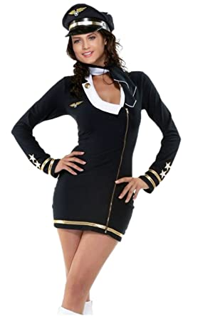 Sexy Pilot Costume - Women Halloween Fancy High Neck Airline Hostess Costume Dress  sc 1 st  Amazon UK & Sexy Pilot Costume - Women Halloween Fancy High Neck Airline Hostess ...