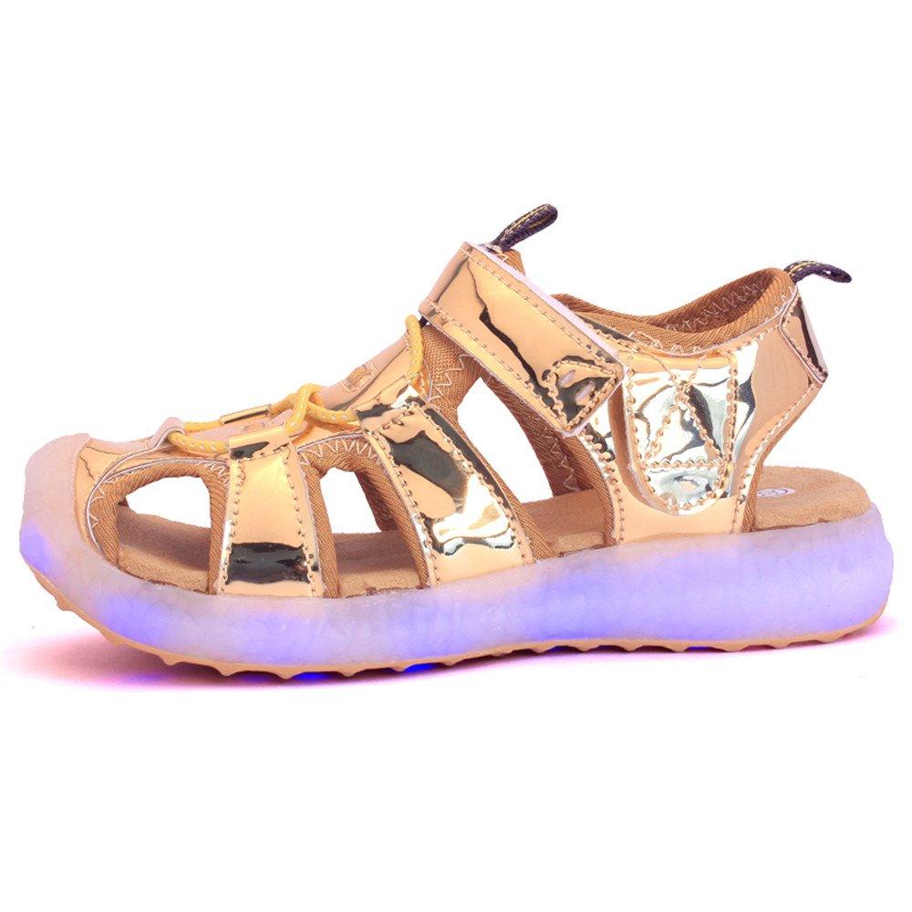 edv0d2v266 Kids Boys Girls USB Children LED Sandle Shoes with Light Glowing Luminous Sneakers(Gold 11.5 M US Little Kid) by edv0d2v266 (Image #3)