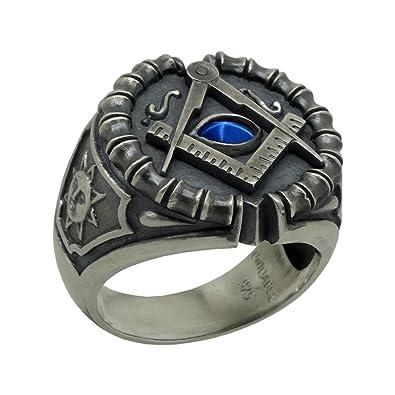 a1ffce56095cf UNIQABLE Masonic Sterling Silver 925 Blue Sapphire Custom All Seeing Eye  Ring Antique Finish KTR020