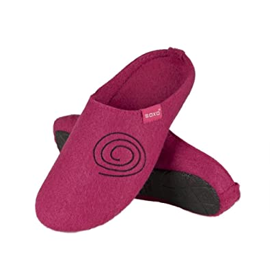 c443635dc soxo Women's Felt Slippers | Pink House Slippers for Ladies with a Sewn  Pattern | Cozy Open Back | Many Sizes: Amazon.co.uk: Shoes & Bags