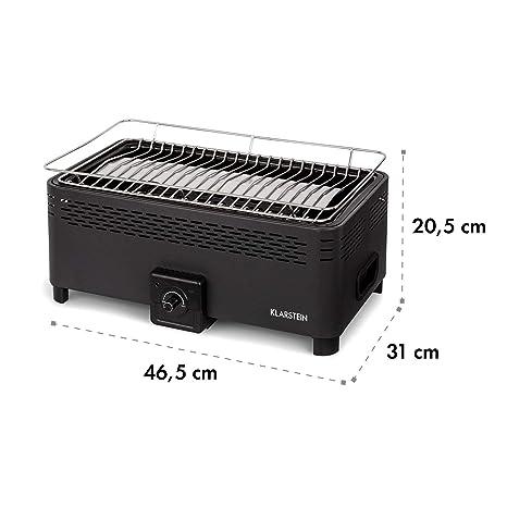 Klarstein Micro-Q 3131 Summer Edition - Parrilla de carbón vegetal, Barbacoa portátil, Medidas 42 x 23 cm, Batería integrada, Limpieza fácil, Bolsa ...