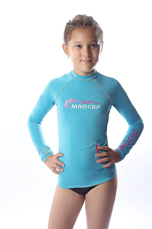 MADCAP Girls Rash Guard Long Sleeve Swimwear Swim Surf Shirt Top UV Sun Protection for Toddler and Teen Girls 4-16 Years Old
