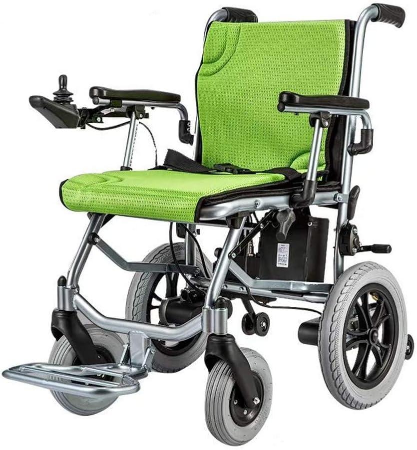 WuLien Silla de Ruedas electrica Plegable, Inteligente Ligera Sillas de Ruedas asistidas y de Transporte, para discapacitados Carro Antiguo Deshabilitado Scooter Capacidad de acción compensatoria
