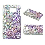 KAKA(TM) Fashion Style Butterfly Rabbit Ears Pattern 3D Handmade Purple Pink Rhinestone Bling Crystal Pearl Rose Flower Transparent Case Cover Clear Hard Case for Samsung galaxy S5 mimi