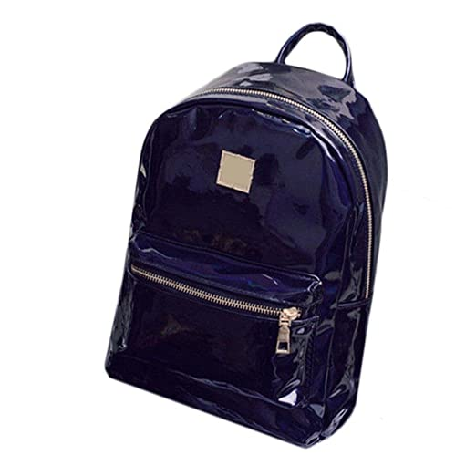 a9bf5855fc Image Unavailable. Image not available for. Color  Women Fashion Faux  Leather Zipper Reflective Backpack Travel Shoulder School Bag