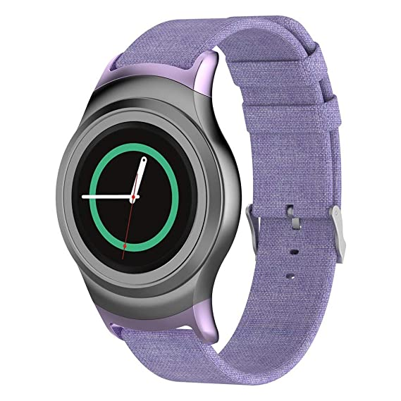 DIPOLA Correa de Reloj de Tejido para Samsung Gear S2 SM-R720 / SM-R730 con Adaptador—Púrpura